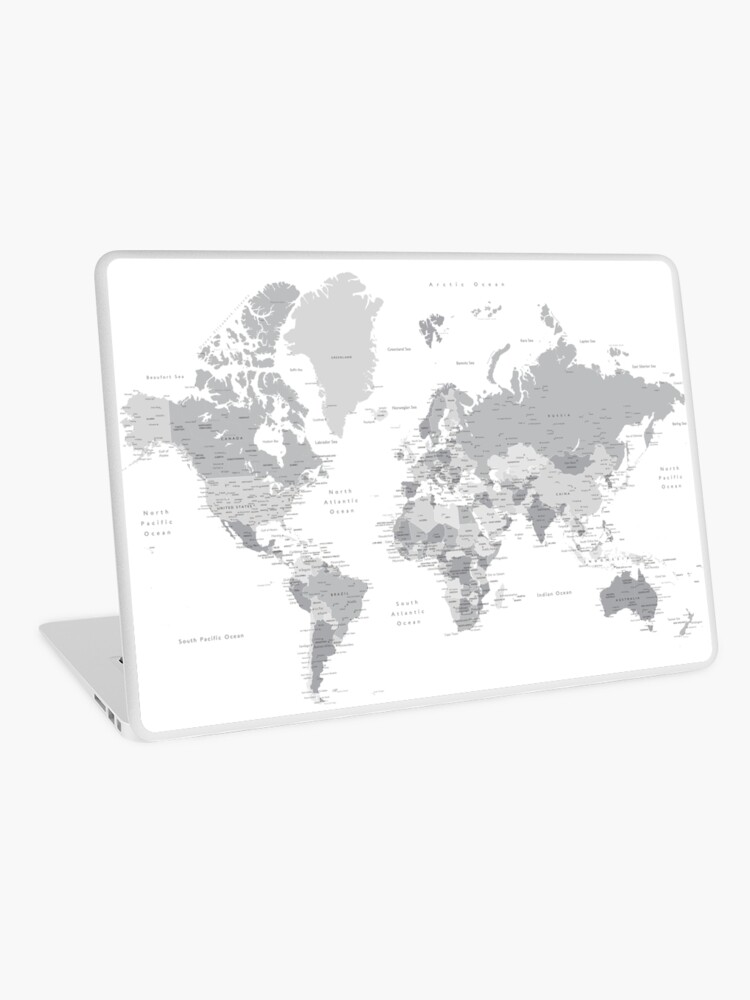 Gray world map with cities, states, countries | Laptop Skin