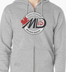 Melodie Black Logo Hockey School Apparel Zipped Hoodie