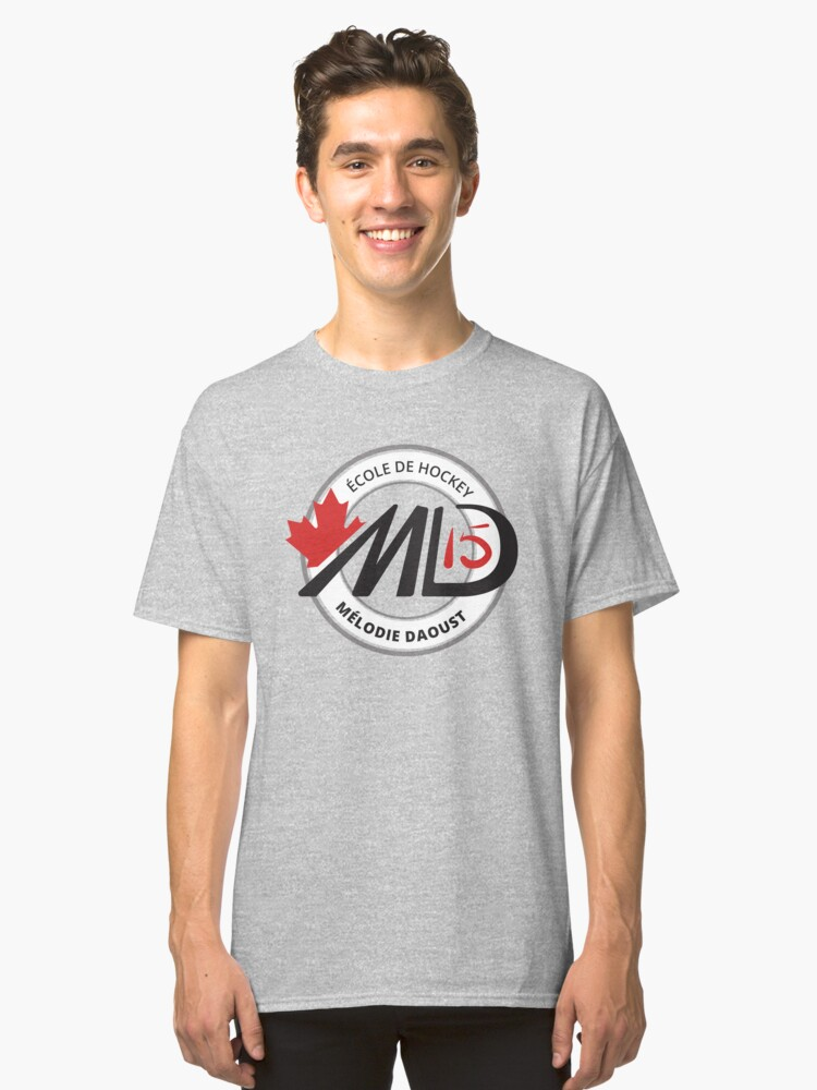 Melodie Black Logo Hockey School Apparel Classic T-Shirt Front