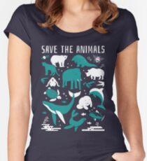 Rette die Tiere - gefährdete Tiere Tailliertes Rundhals-Shirt