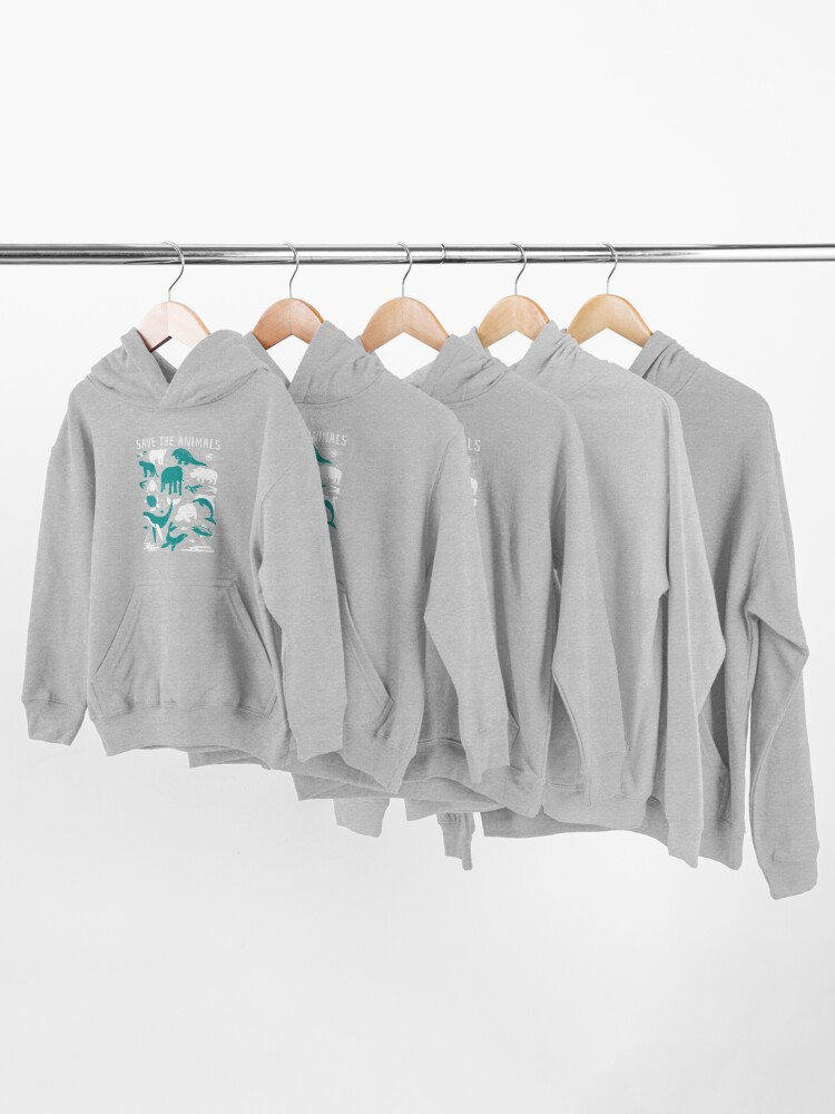 Alternate view of Save The Animals - Endangered Animals Kids Pullover Hoodie