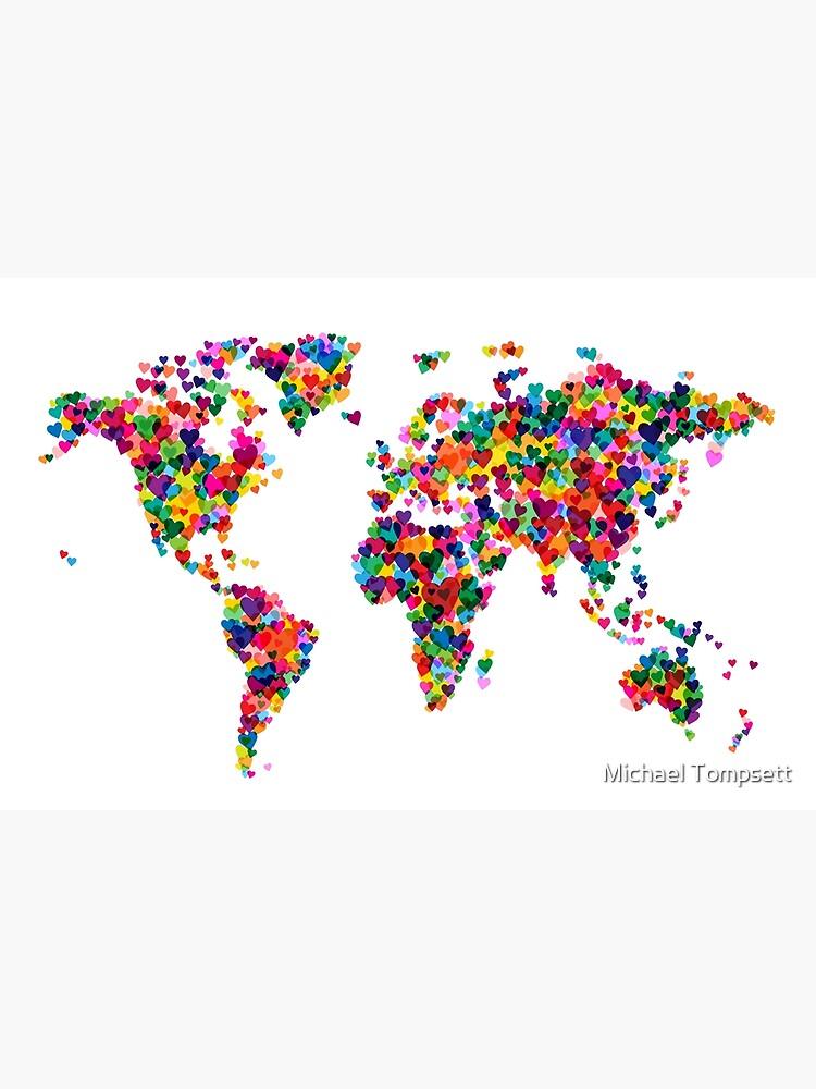 Liebes-Herz-Karte der Weltkarte von ArtPrints