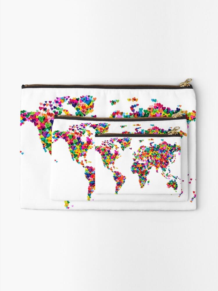 Alternative Ansicht von Liebes-Herz-Karte der Weltkarte Täschchen