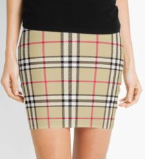 Cream Plaid 001 Mini Skirt