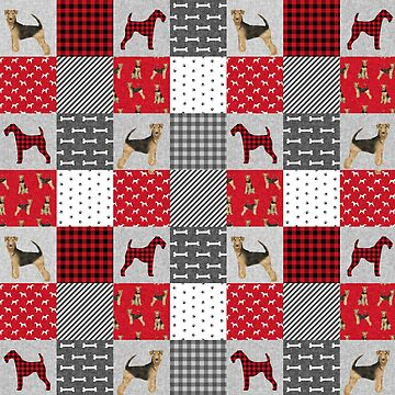Airedale Terrier Buffalo Plaid patchwork - red and black, dog, dogs, cute dog, airedale terriers by PetFriendly