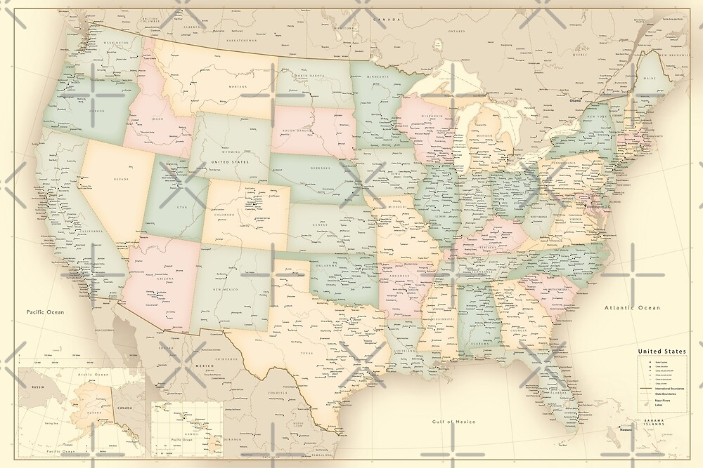 """Vintage map of the USA, high detail, """"librarian"""" by blursbyai"""