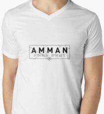 Camiseta de cuello en V La longitud y la latitud de Amman