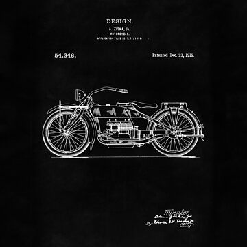 Antique Motorcycle blueprint patent drawing 1919 by Glimmersmith