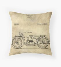 Antique Motorcycle blueprint patent drawing plan from 1919, Industrial farmhouse Throw Pillow
