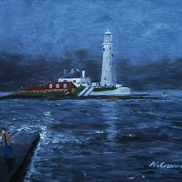 St Mary's Lighthouse, Whitley Bay by CrossanArt