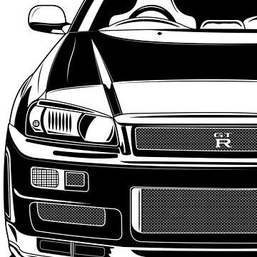Skyline R34 GT-R (Black and white) by monstta