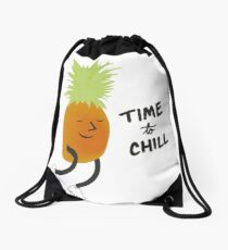 Time to Chill Pineapple Drawstring Bag