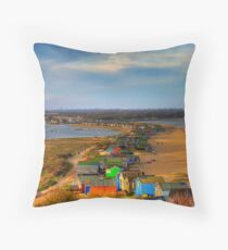 The Beach Huts Throw Pillow