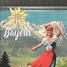 Bavarian girl in Alpine valley with Edelweiss by edsimoneit