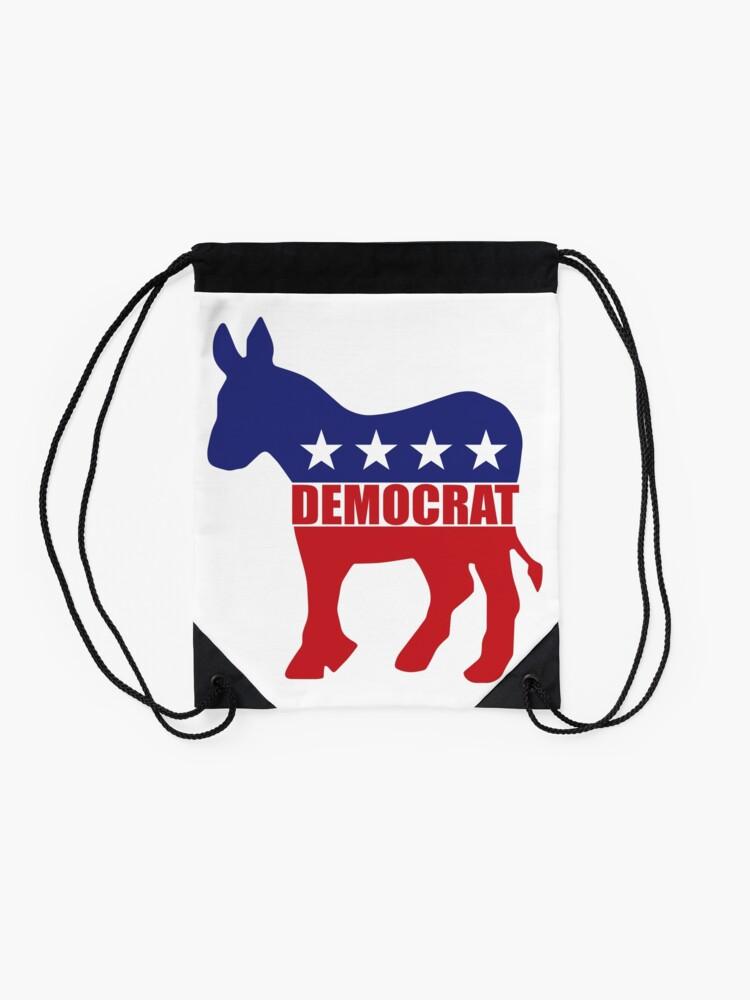 Alternate view of Democrat Donkey Logo Drawstring Bag