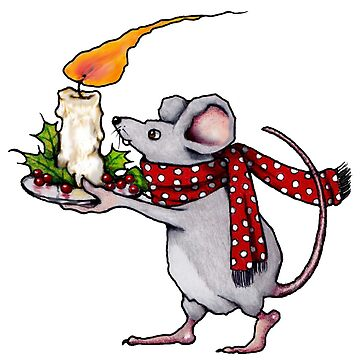 Christmas Mouse Carrying Burning Candle, Artwork by Joyce