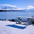 Lake Pukaki, Picnic Area with Mount Cook's head in the clouds. by McCall-Images