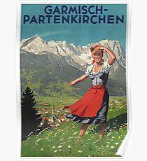 Garmisch Partenkirchen ... Jahrgang Touristenplakat Poster