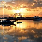 Sunrise At Labrador Broadwater, Gold Coast, Queensland, Australia. by Ralph de Zilva