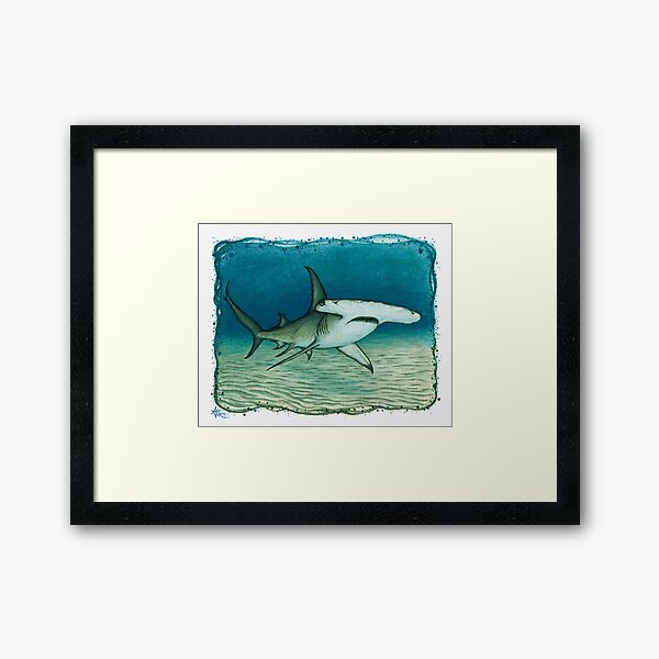 """Great Hammerhead Shark"" by Amber Marine ~ watercolor painting, art © 2016 Framed Art Print"