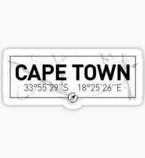 The longitude and latitude of Cape Town Sticker