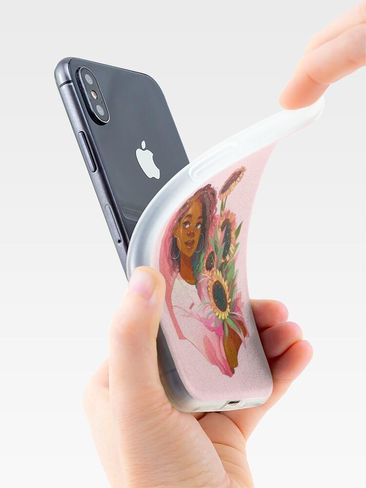Vista alternativa de Funda y vinilo para iPhone Girasoles rosas