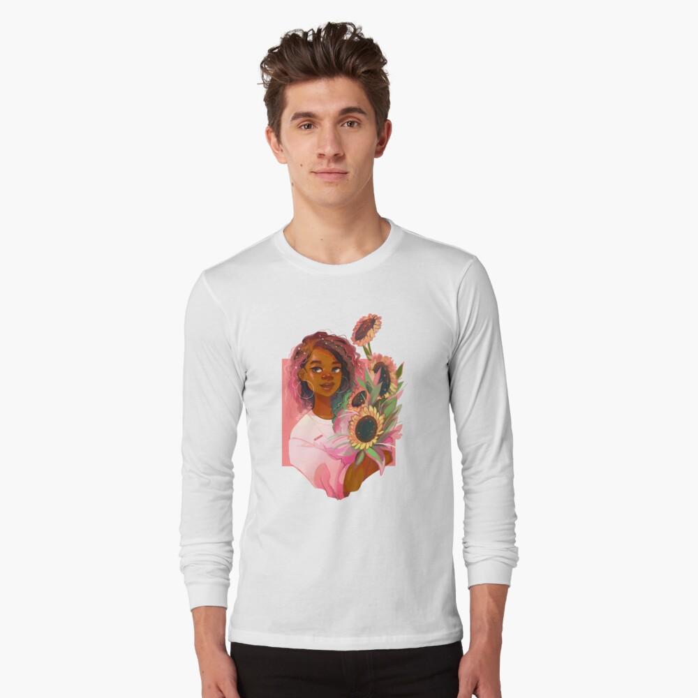 Girasoles rosas Camiseta de manga larga