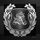 Vintage Silver AA Monogram on Black Shield with Silver Oak Wreath over Black Canvas by Serge Averbukh