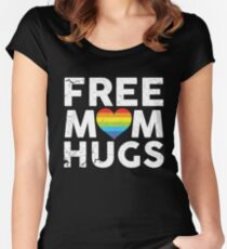 Free Mom Hugs Rainbow Heart LGBT Supports Shirt Women's Fitted Scoop T-Shirt
