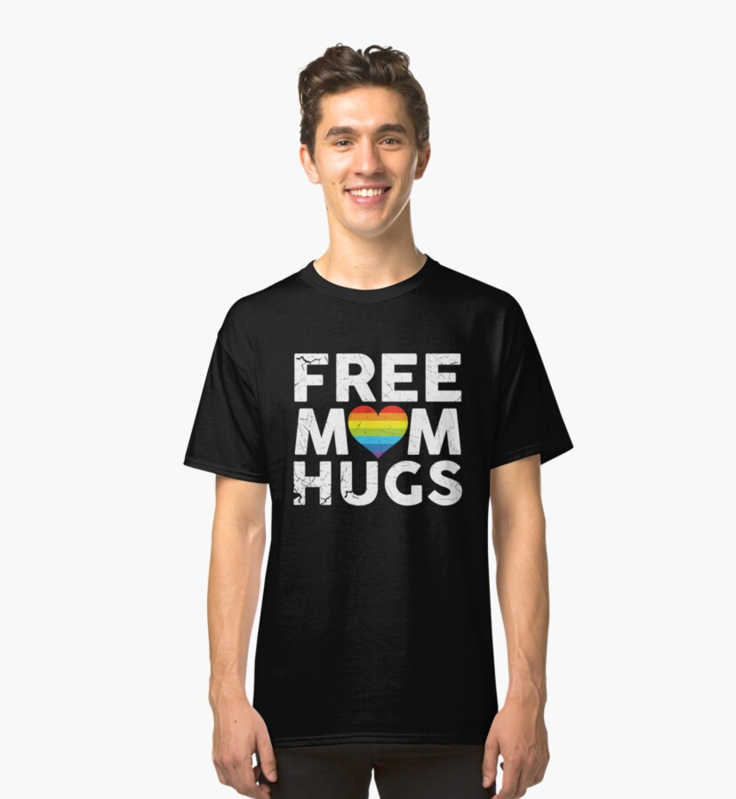 Free Mom Hugs Rainbow Heart LGBT Supports Shirt Fitted Scoop TShirt Gift Trending Design T Shirt