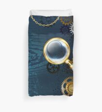 Blue Background with Magnifier ( Steampunk ) Duvet Cover