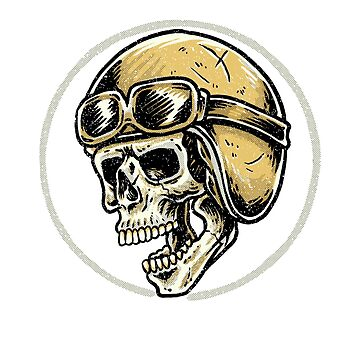 Vintage Biker Ghost Pilot Rider Skull  by Coldink