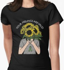 Your Feelings Are Valid Sunflower Mental Health Awareness Shirt Women's Fitted T-Shirt