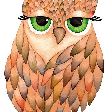 Watercolour Owl by PipPipHooray