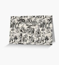 Alice in Wonderland | Toile de Jouy | Beige and Black Greeting Card