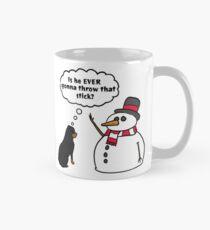 Funny Rottweiler Snowman Stick Arm Christmas Mug