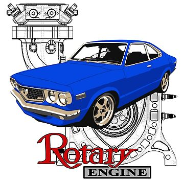 Mazda RX3 Rotary Engine Blueprint Blue by harrisonformula