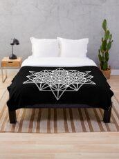 64 Star tetrahedron on black Throw Blanket