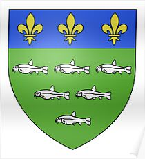 French France Coat of Arms 13595 Blason ville fr Loches Indre et Loire Poster