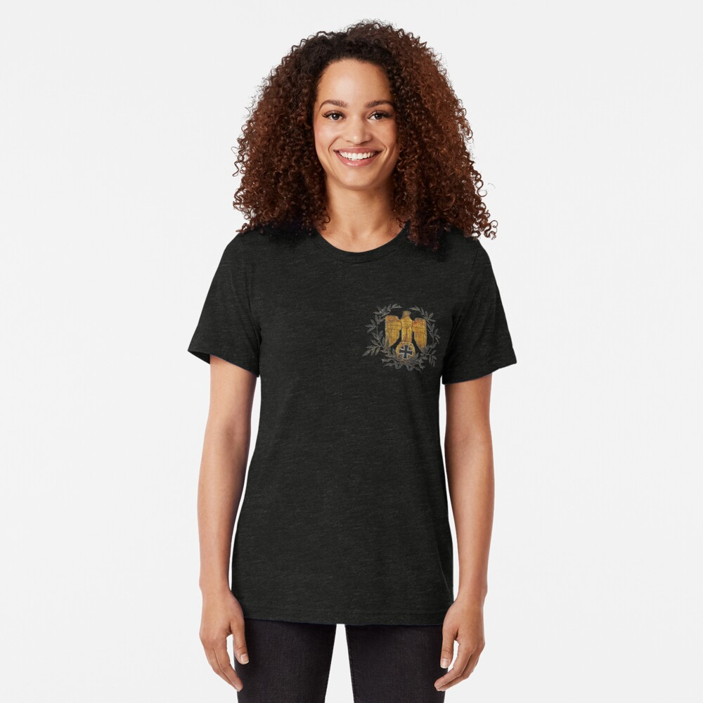 Gold Eagle with Iron Cross  Tri-blend T-Shirt