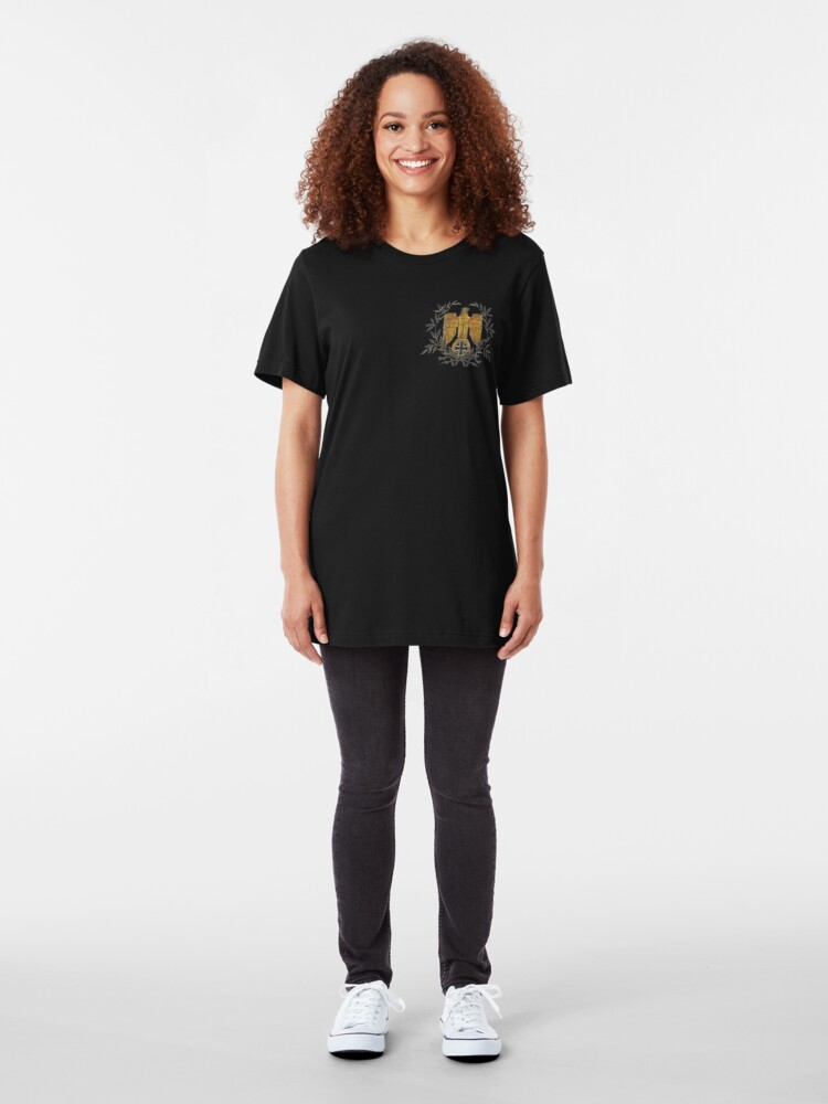 Alternate view of Gold Eagle with Iron Cross  Slim Fit T-Shirt