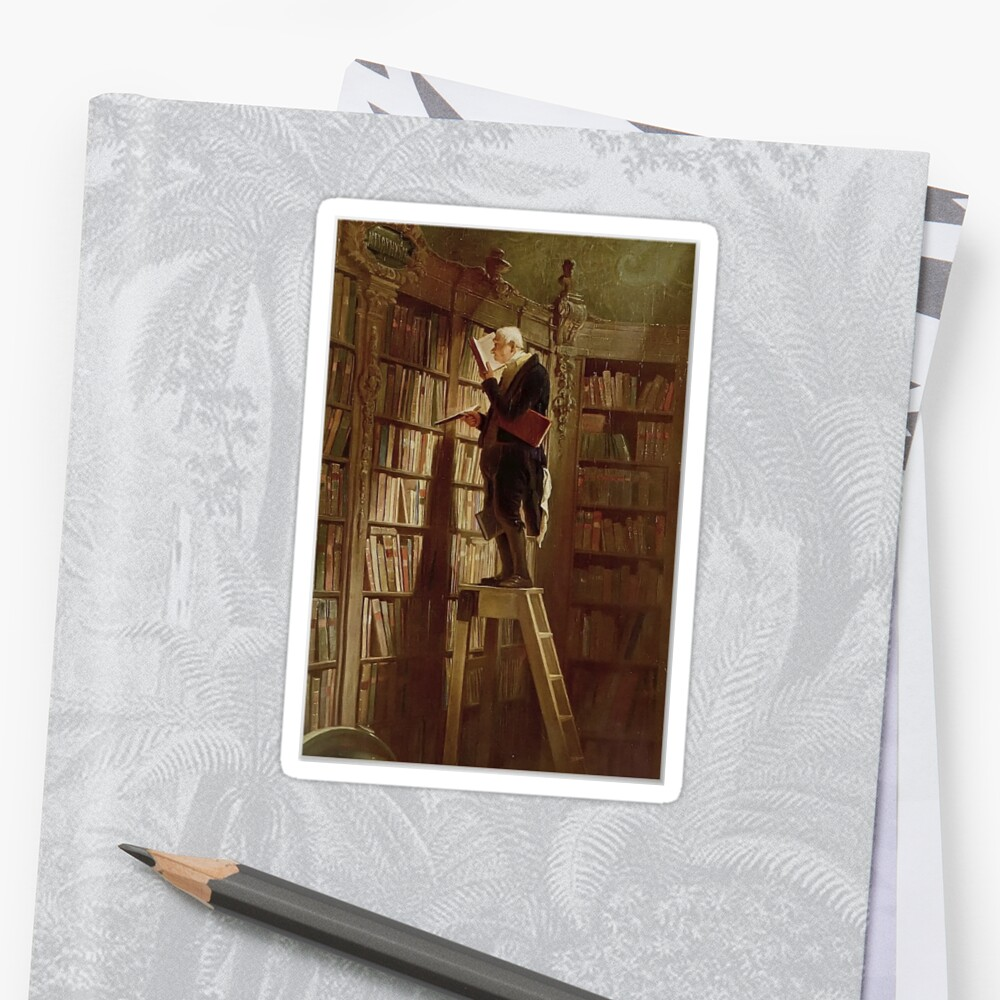 The Bookworm, by Carl Spitzweg Sticker