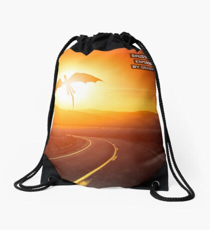 Speed limit enforced by dragons (text version) Drawstring Bag