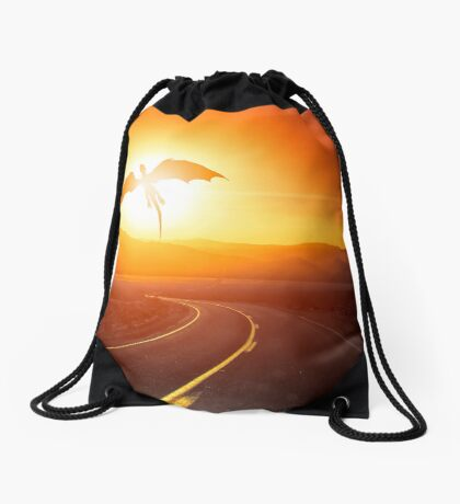 Speed limit enforced by dragons (no text) Drawstring Bag