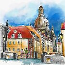 Dresden Blick über die Münzgasse zur Frauenkirche von Hartmut  Buse