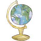 Watercolor Wanderlust Globe by Kaity E.