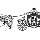 Black And White Wedding Horses And Carriage  by artonwear