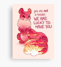 """You are Not a Burden. We are Lucky to Have You"" Sunset Squirrel Canvas Print"