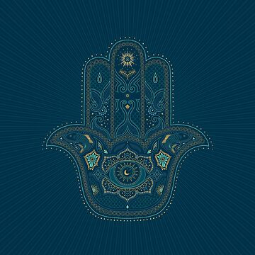 Hamsa Hand in Blue and Gold by dinafiala