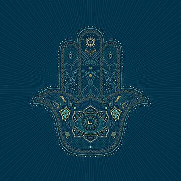 Hamsa Hand in Blau und Gold von dinafiala